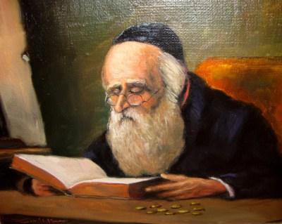 Żyd nad księgą z pieniążkami