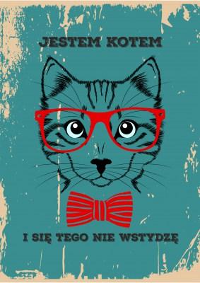 Plakat kot hipster w okularach