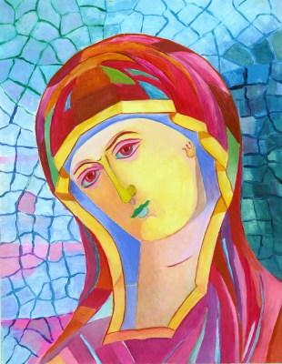 Ikona Matki Bożej z mozaiką w tle