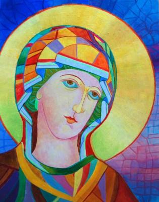 Matka Boża w złotej aureoli