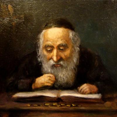 Żyd z pieniążkiem na szczęście
